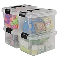 Fosly 4 Set of Transparent Plastic Storage Boxes with Lids Clip, Small Plastic Box with Lid