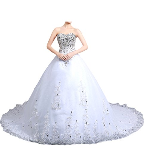 Milano Bride Damen Hochwertig Tuell Herzform Hochzeitskleid Brautkleider Brautmode Steine Strass...