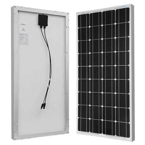 RENOGY 100w 12v Module Solaire Monocristallin Panneau Solaire Photovoltaïque Cellule Solaire Idéal pour Recharger les Piles 12 volt(RV, Bateau, Toit, Voiture, Caravane)