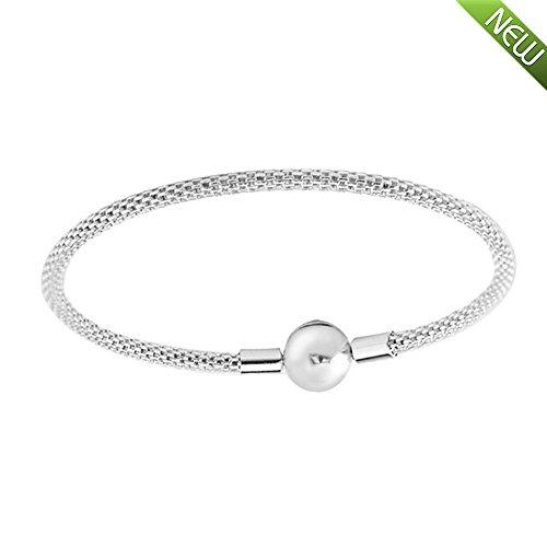PANDOCCI 2017 Mesh Armband authentische 925 Sterling Silber Original Europäischen Mode Frauen Schmuck (21CM)