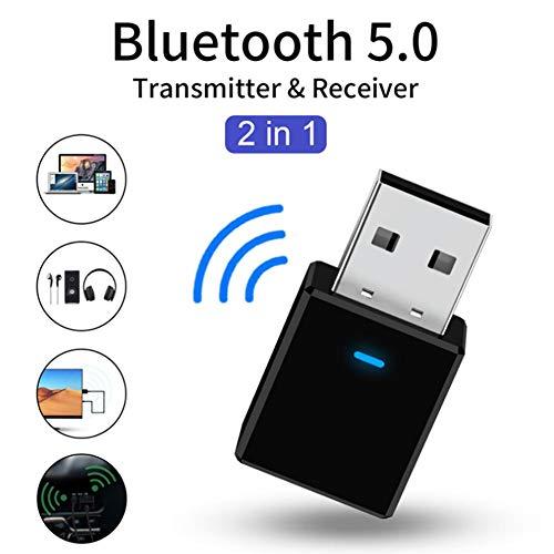Luckyx Bluetooth 5.0 Sender Empfänger, 2 In 1 Tragbarer Mini Wireless Audio Adapter Empfänger USB Netzteil, Für PC TV Kopfhörer Car Home Stereo, Home Audio Streaming System, Car Wireless Adapter TV (Mit Car-audio-system Lautsprechern)