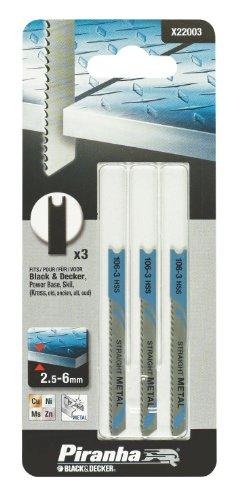 Black+Decker X22003-XJ - 3 hojas HSS para corte recto de 3 a 6 mm. L. 50 mm. Dte 2 mm. Metal, metal...