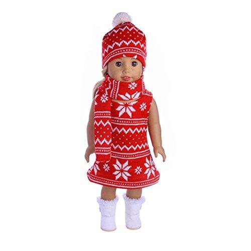 Crystal Girls Pullover (American Girl Puppe Kleidung Pullover Kleid Rock + Hut + Schal dreiteilige Anzug für 18 Zoll unserer Generation American Girl Doll (B))