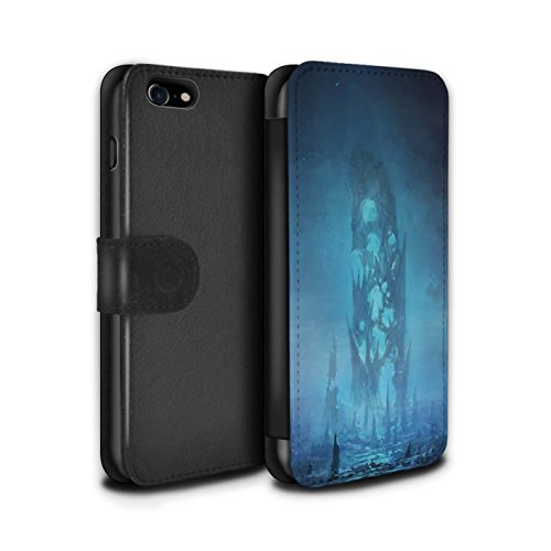 Offiziell Chris Cold PU-Leder Hülle/Case/Tasche/Cover für Apple iPhone 8 / Saphir Spitzen Muster / Fremden Welt Kosmos Kollektion Rest