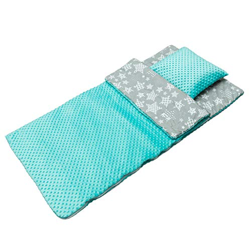 BabyBoom Schlafsack für Kleinkinder, Kindergarten, Zuhause, Bettwäsche für Kinderbett - MINKY + 100% Baumwolle - Gr. 75x140 cm + Kissen 40x35 cm (Sterne grau - Minky Minze)