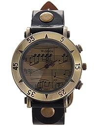 WOMAGE Mujeres Vintage Piano Calificacion Cuarzo Metal Dial Reloj de Pulsera Negro