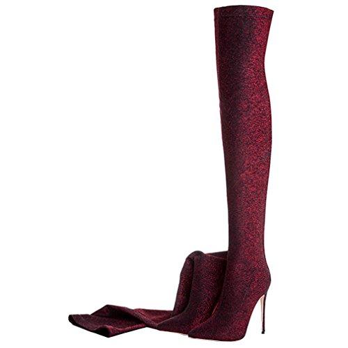 ENMAYER Donne sexy tacchi alti stivali sopra al ginocchio scivolare su il vestito della festa le scarpe Rosso