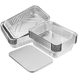 BESTONZON 20 Pièces Barquettes en Aluminium avec Papier Couvercles pour Cuisson Barbecue Griller Rôtir
