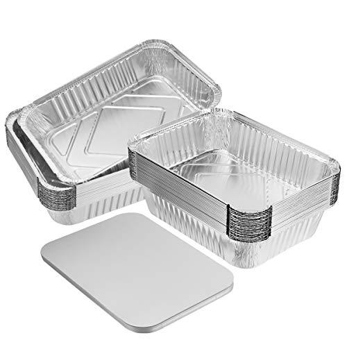 Bestonzon Lot de 20 Grandes Barquettes en aluminium ultra résistantes, avec couvercles, pour cuisson, rôtissage et pâtisserie, 26 x 19 x 6,3cm