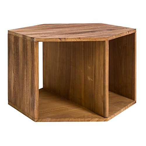 Rebecca Mobili Table de Salon Table Basse Hexagonale Bois Marron Clair Moderne Salon Chambre (Cod. RE4583)