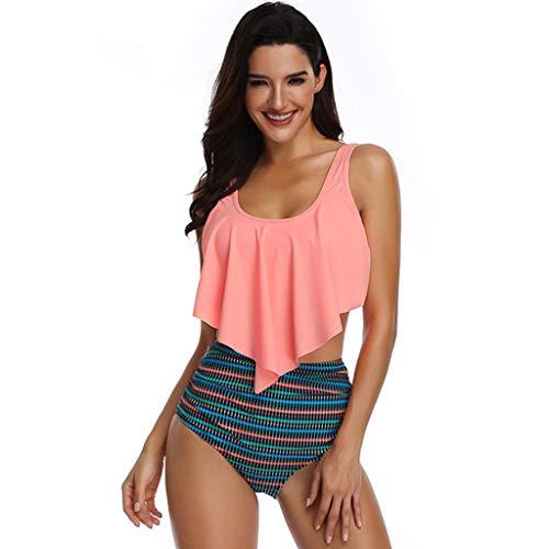Produp Damen Bikini Einstellen Unregelmäßig Gepolsterter BH Hoch Tailliert Streifen Badeanzug Baden Passen Zwei Stück Badebekleidung