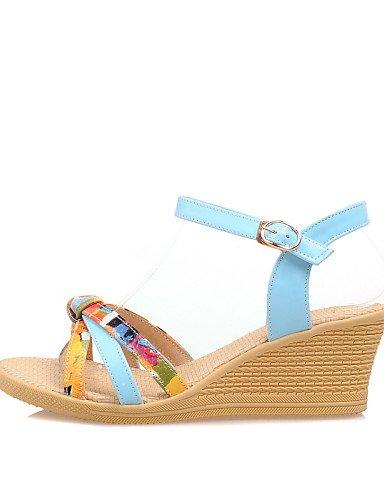 LFNLYX Scarpe Donna-Sandali-Casual / Serata e festa / Formale-Zeppe / Cinturino alla caviglia-Zeppa-Vernice-Blu / Giallo / Rosa / Rosso Pink