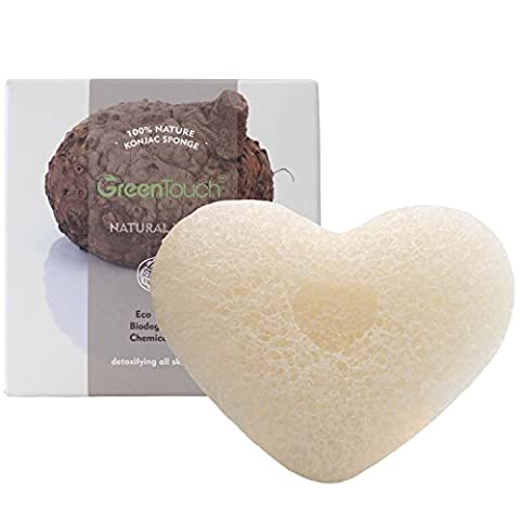 GreenTouch All Natural Konjac Facial Sponge with Natural White | Remove the Oily & Exfoliating | Heart-shaped Deep cleaning | Plant Fiber 100% Biodegradable |