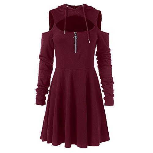 Bealeuy Frau Retro Kleid Mode Frauen kalte Schulter offene Schulter langes Hülsen mit Kapuze Schwingen Reißverschluss Kleid