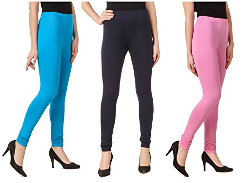 Svadhaa Aqua Navy Blue Light Pink Cotton Lycra Leggings(Pack Of 3)