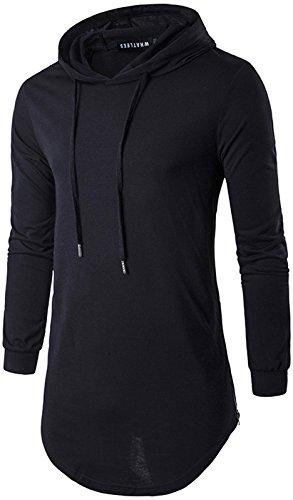 Whatlees Herren Urban Basic reguläre Passform lang arm Langes T-shirt mit Kapuzer und seitlichen Reißverschlüssen