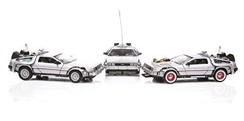 Welly Diecast Car Models Back To The Future 1, 2, 3 Trilogy Delorean Time Machine Set auto, scala 1/24, Argento, 22400-3G
