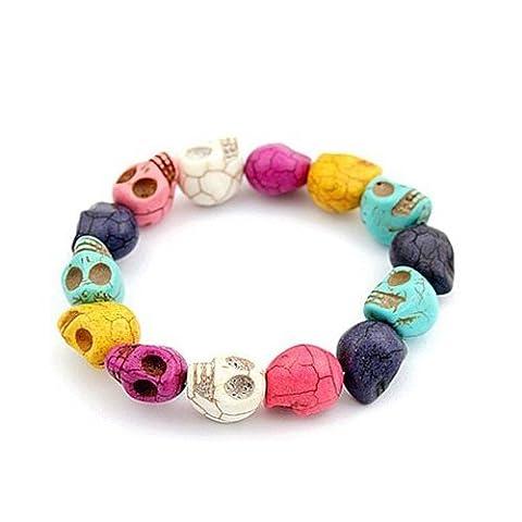 LanLan Character Skull Bracelet Howlite Turquoise Skull Beads Buddhist Prayer Bracelet Mala Color