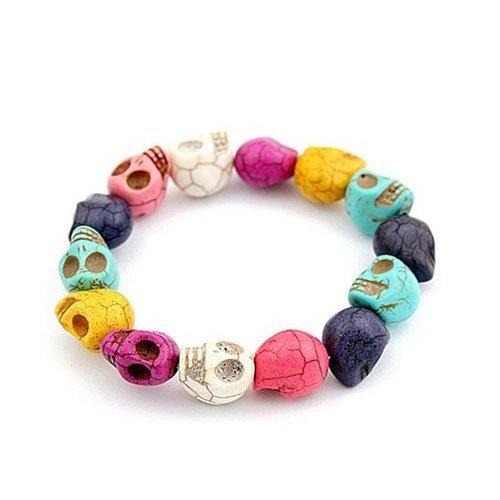 Preisvergleich Produktbild Lanlan Charakter Schädel Skull Totenkopf Armband Howlith Türkis Perlen buddhistische Gebetskette Mala Armband Farbe