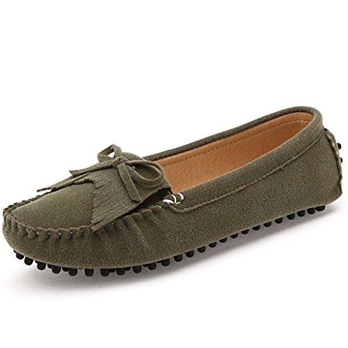 Oriskey Damen Mokassin Bootsschuhe Leder Loafers Schuhe Flache Fahren Halbschuhe Sandalen  40 EURot