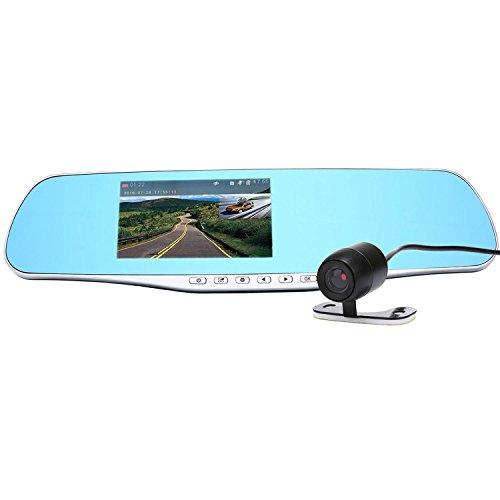 """niceEshop(TM) Delantero y Trasero Grabadora de Conducción 1080P Doble Lente de la Cámara de Espejo Retrovisor 4.3 """"pantalla de Vídeo del Coche con Monitor de Estacionamiento"""