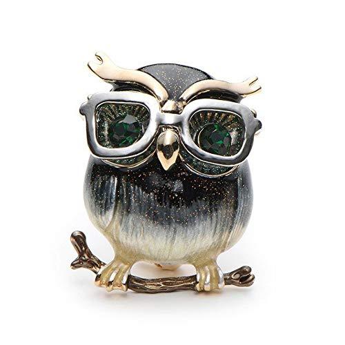 QWERTY Legierung Brille Owl Broschen Für Frauen Und Männer Metall Vogel Tier Emaille Brosche Pins, 1 (Vogel Pin Brosche)