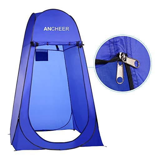 ANCHEER Ultraleichtes Segeltuch Umkleidezelt Pop up Zelt tragbares Duschzelt Outdoor WC Zelt Toilettenzelt für Camping (Blau) - 5