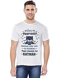 The Souled Store DC COMICS: Batman Be Yourself Superhero Graphic Printed LIGHT GREY MELANGE Cotton T-shirt for Men Women and Girls