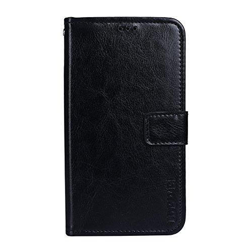SHIEID® Wiko Harry 2 Hülle Brieftasche Handyhülle Tasche Leder Flip Case Brieftasche Etui Schutzhülle für Wiko Harry 2 mit Stand Funktion EIN Stent-Funktion (Schwarz)