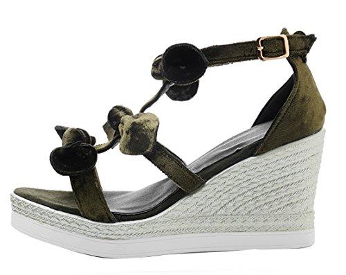 AIYOUMEI Damen Wildleder T-spangen Knöchelriemchen Keilabsatz Sandalen mit Schleife Süß Sommer Schuhe Grün