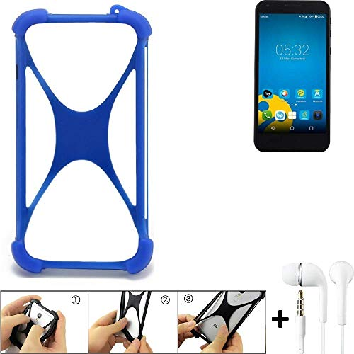 K-S-Trade Handyhülle Vestel 5000 Dual-SIM Bumper Schutzhülle Silikon Schutz Hülle Cover Case Silikoncase Silikonbumper TPU Softcase Smartphone, Blau (1x), Headphones