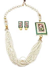 Biyu Designer Collection White Alloy Jaipuri Kundan Meenakari Multistrand Pearl Bead Necklace Set For Women