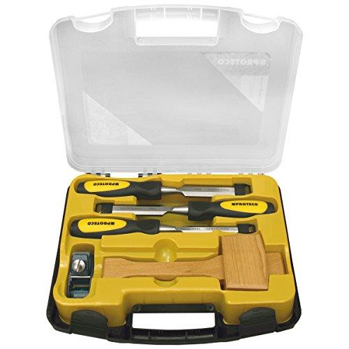 Proteco-Werkzeug 5-tlg. Stechbeitelsatz Beitel mit Klopfholz Stechbeitel Stemmeisen