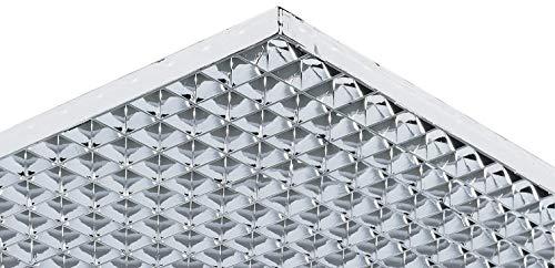 Gedotec Lichtgitter eckig Gitterrost Parabol Gitter-Profil gemäß DIN 5035 | 1213 x 604 mm | Kunststoff verchromt glänzend | MADE IN GERMANY | 1 Stück - Alu Licht-Vorhang für die Decken-Montage -