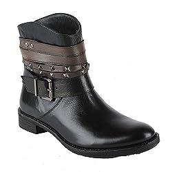 Salt n Pepper Alarm Black 100% Genuine Leather Women Mid Ankle Seal Boots