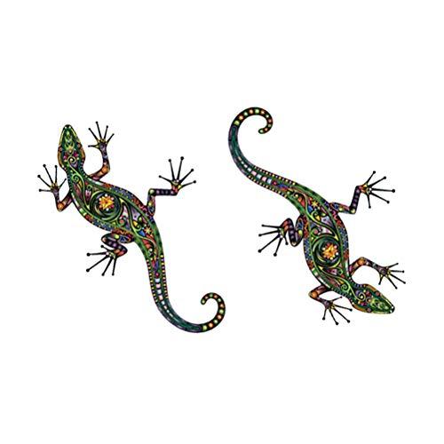 Vosarea 2 stücke Farbe Gecko Wandaufkleber Tapete PVC Wasserdichte DIY Abnehmbare Reptil Tier Wandtattoos Wandbilder Dekoration