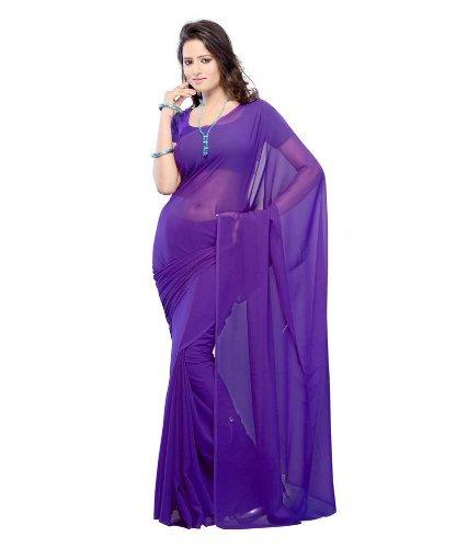 D7 Fashion Women's Purple Color Chiffon Silk Saree With Blouse Piece.(Purple_Free Size)
