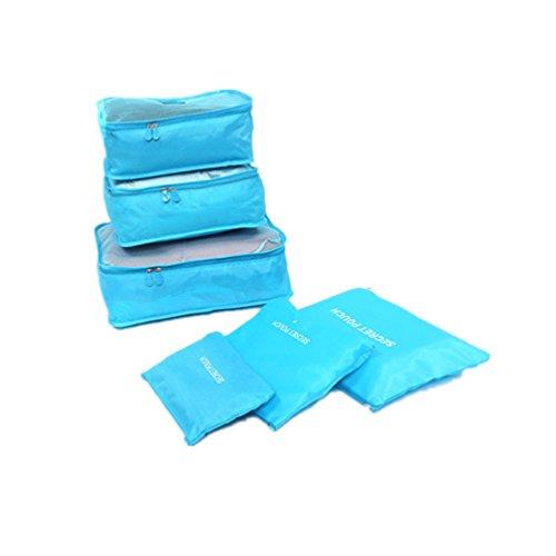 Albeey 6 Stück Kleidertaschen Set Kofferorganizer Packtaschen Rucksack Blau