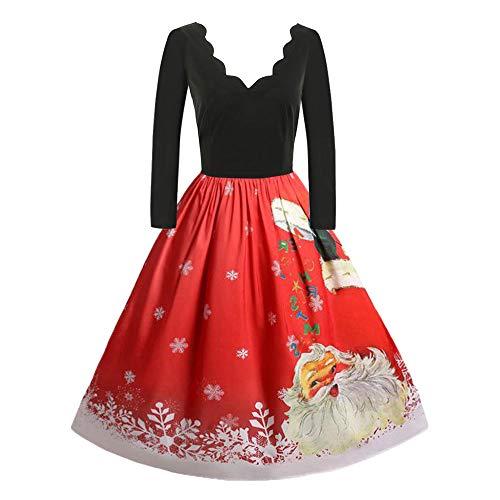 TIMEMEANS Robe pour Femme, Plus la Taille, la Mode Vintage, Noël, Manches Longues, Motif Santa, balançoire