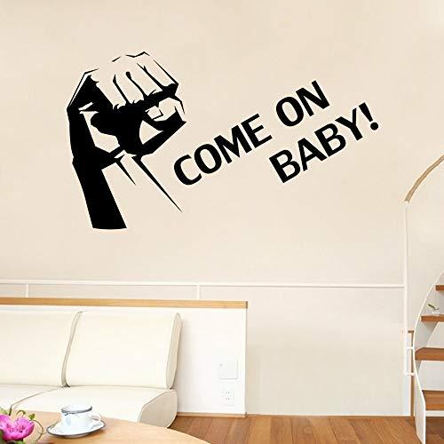 ljradj Grande Pugno Come On Baby Lettering Pattern Rimovibile Wall Stickers per la Scuola Materna Camera dei Bambini Soggiorno Vinyl Art Decor Rosa 66X114cm