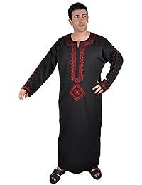 Egypt Bazar Moderner Herren-Kaftan Hauskleid, Farbe: schwarz/rot