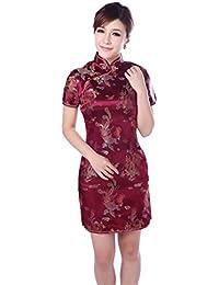 ACVIP Donna Broccato Disegno Drago e Fenice Cheongsam a Maniche Corte Qipao  Cinese 559f45e6c01