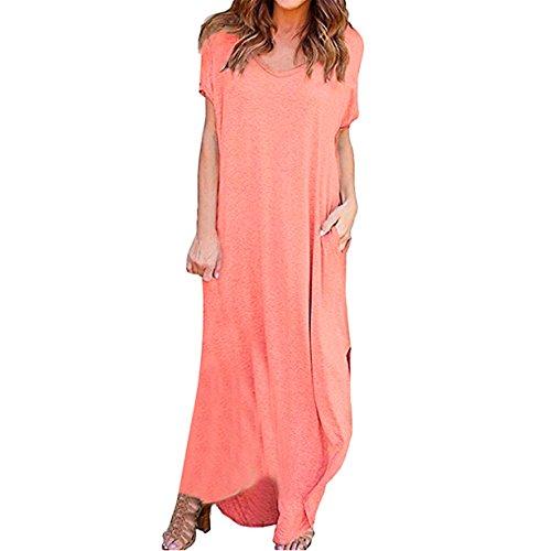❤️ Loveso Frauen Damen Bodenlanges Kleid Langes Jersey Maxikleid Sommer Kurzarm V-Ausschnitt Loses Jersey-Kleid Komfortabel T-Shirt Kleid (Rosa❤️, 2XL) (Weißen Schultern Vintage Parfüm)