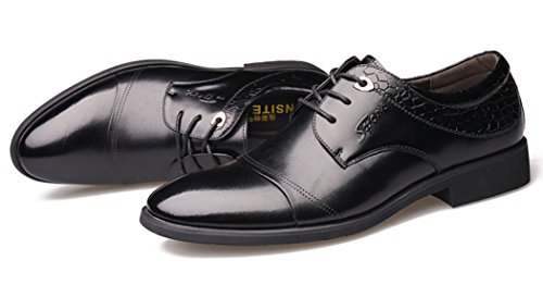 DADAWEN Homme Classique Automne Commercial Chaussure en Cuir Noir