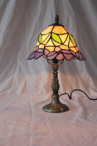 Gweat 6-Zoll Vintage Pastorale Glasmalerei Tiffany Blumen Tischlampe Schlafzimmer Lampe Nachttischlampe -