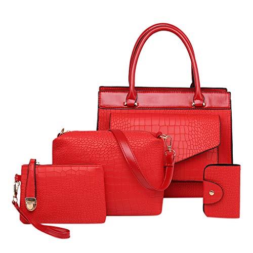 4 Stück Set Handtaschen Crossbody Beutel Wallet Mobiltelefon Geldbeutel Kartentasche, PU Leder Schultertasche Shopper Tragetaschen Umhängetasche Geldbeutel Tote Taschen Clutches (Rot) -