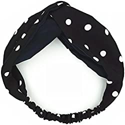 MultiKing Diademas pelo banda Turbantes Headwrap Hair Band Hairband Retro clásico lunares satén cruz puntos lado ancho negro