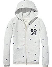 Scotch & Soda Zip Through Hooded with Allovers & Chest Artwork, Sweat-Shirt Fille
