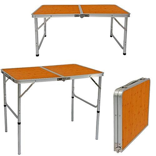 AMANKA klappbarer höhenverstellbarer Campingtisch 90x60x70 cm Leichtgewicht Klapptisch Reisetisch im Kofferformat Bambus