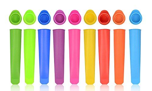 Moldes de silicona, moldes hielo con tapas. iNeibo moldes helados silicona alimentaria, sin Bpa, aprobado por FDA (Set de 10)